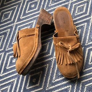J Crew Tassel Leather Wooden Clogs